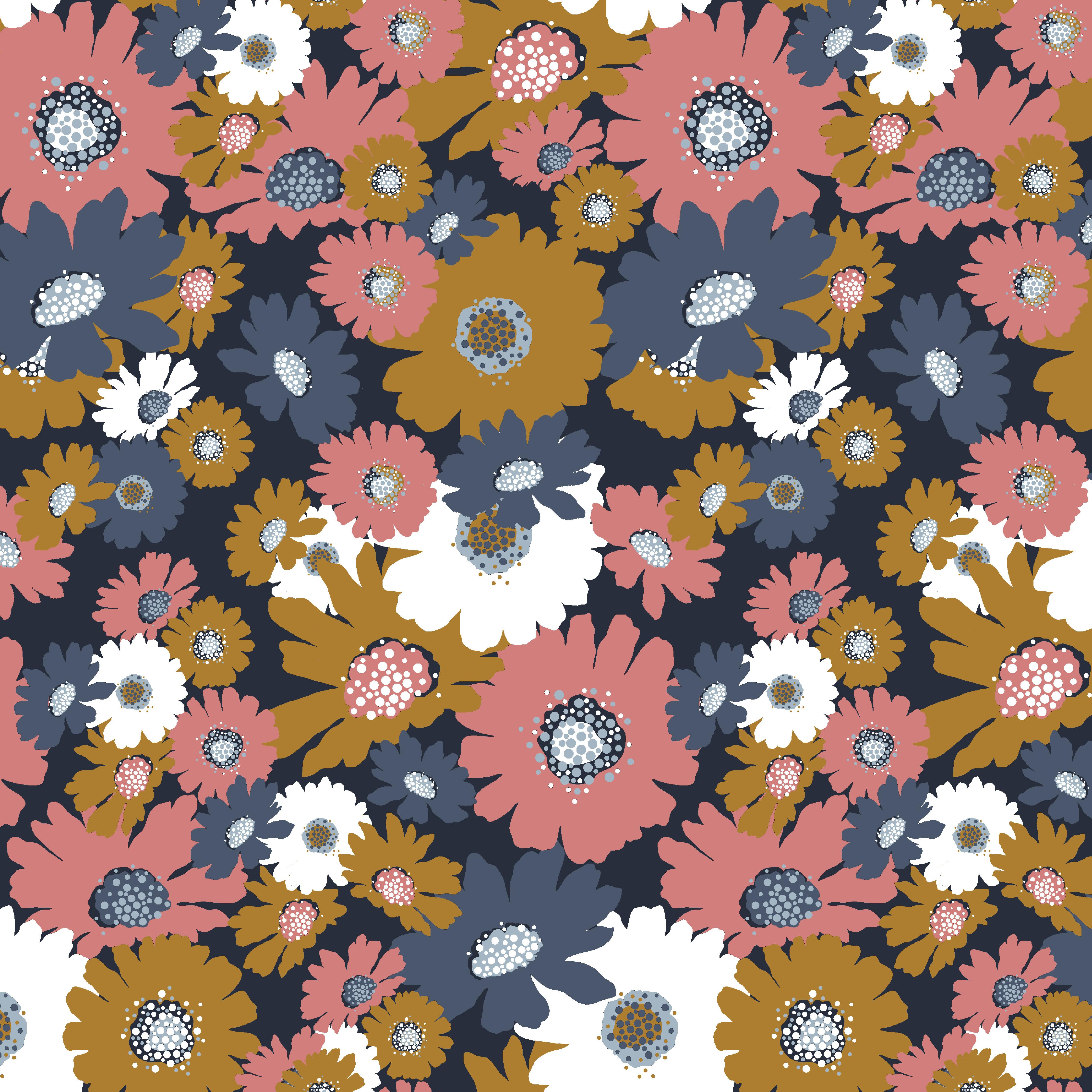 Soft Sweat Blumen Navy