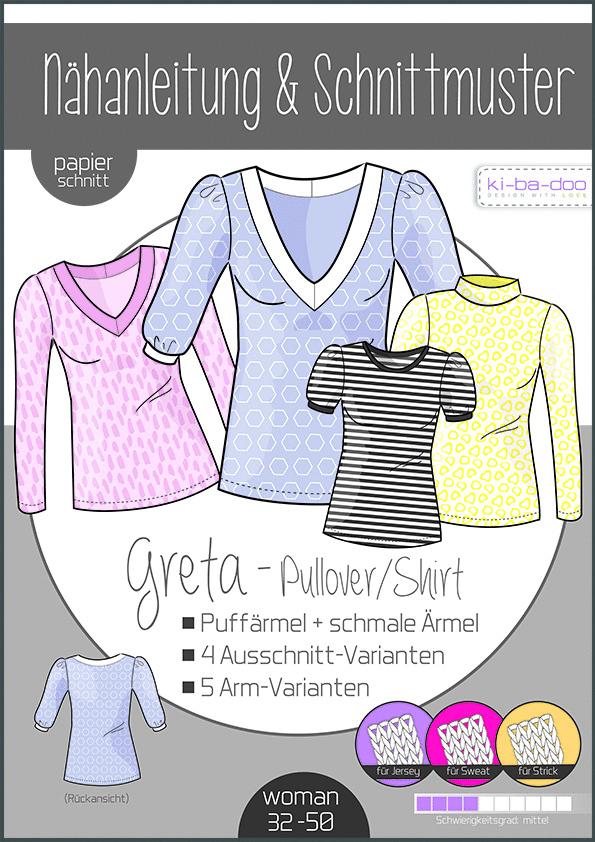 Schnittmuster Pulli/ Shirt Greta  Kibadoo  Gr.32-50