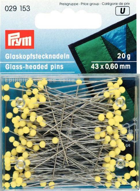 Glaskopfstecknadeln gelb Prym