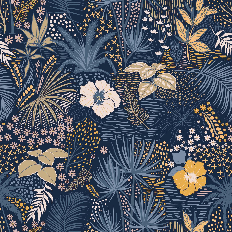Baumwolljersey Blumen und Gräser auf Blau