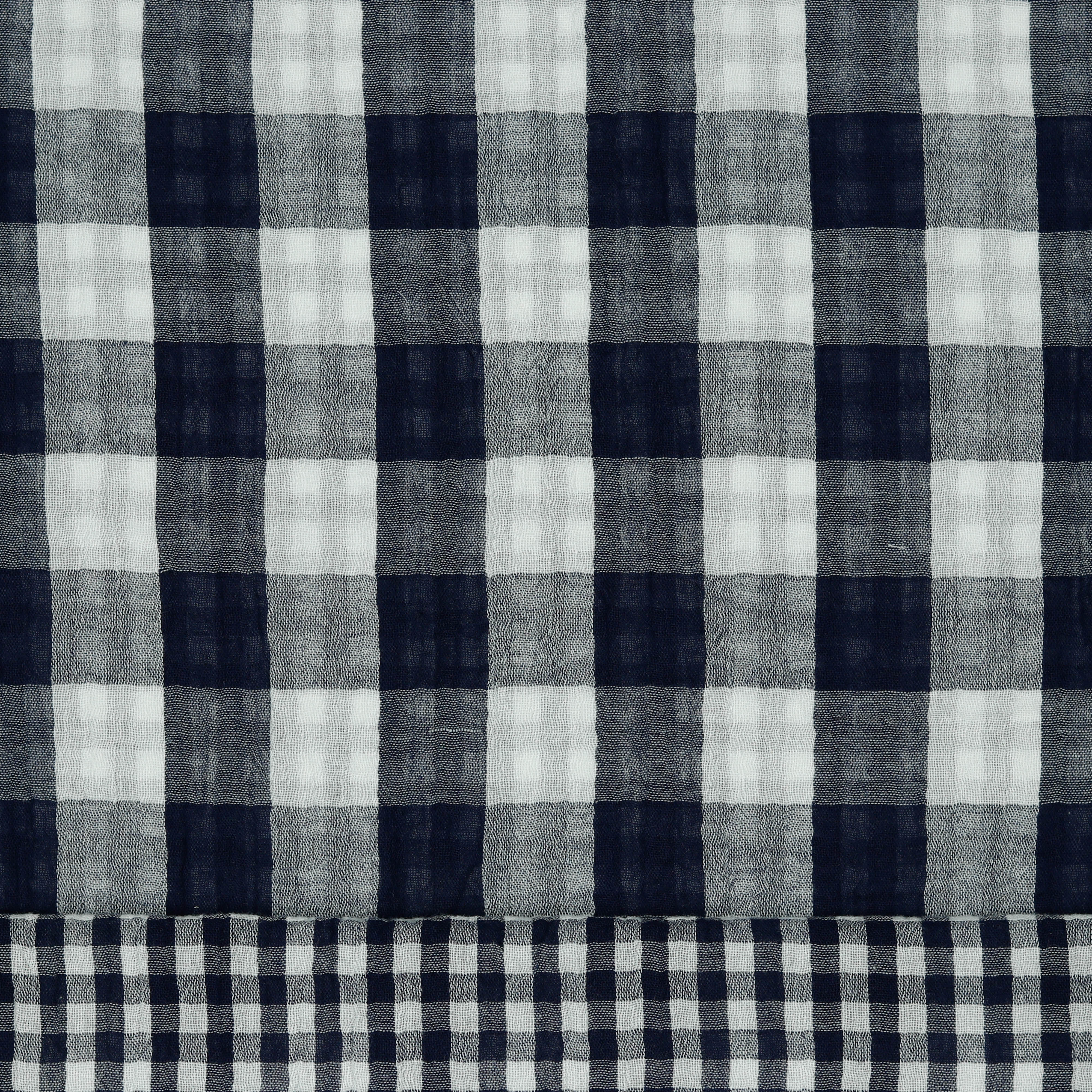 Musselin Double Face Check Navy