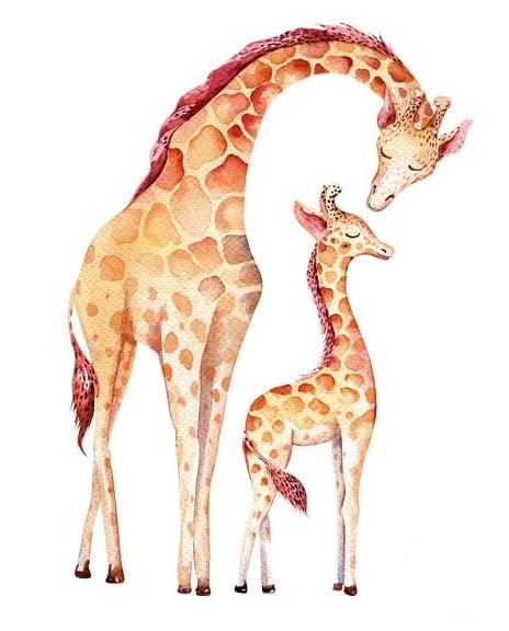Bügelbild Giraffen Mama & Kind