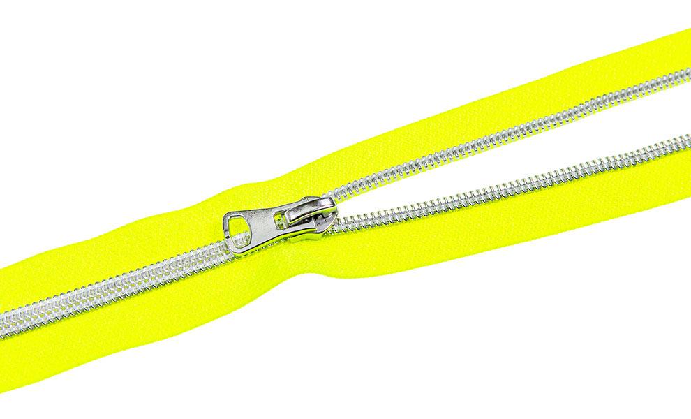 endlos Reißverschluss Neon Gelb Silber 5m