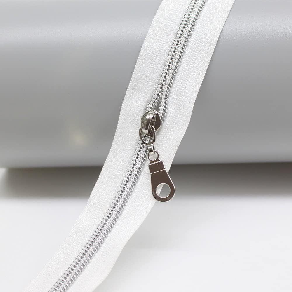 endlos Reißverschluss  Weiß Silber 5mm