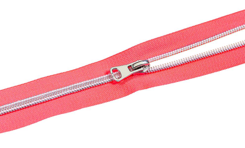 endlos Reißverschluss Neon Pink Silber 5m