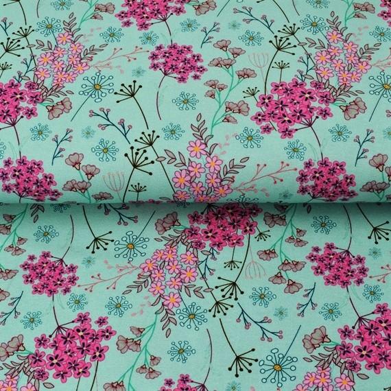 Baumwolljersey Spring Flowers auf Mint