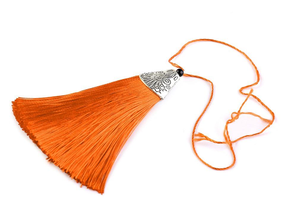 Anhänger Tassel mit Ornament Kappe  Orange