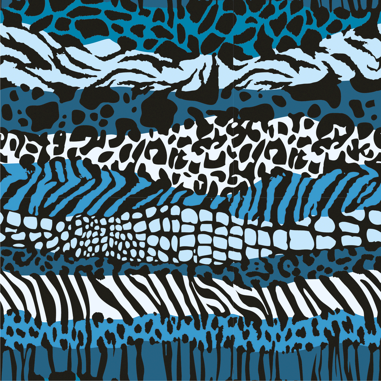 Baumwolljersey Animal Zebra Blau