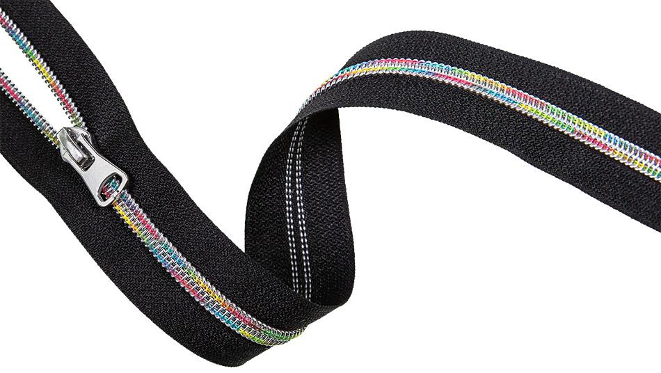 endlos Reißverschluss Rainbow Black Silber 5m