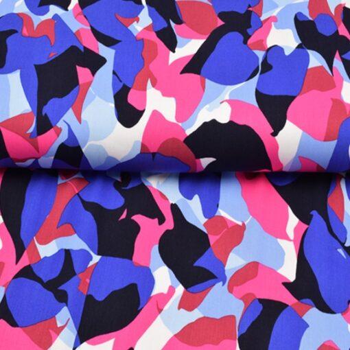 Viskosewebware abstrakte Muster Knallbums Pink und Azur
