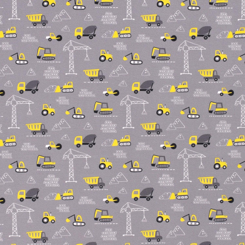 Baumwolljersey Baufahrzeuge auf Grau