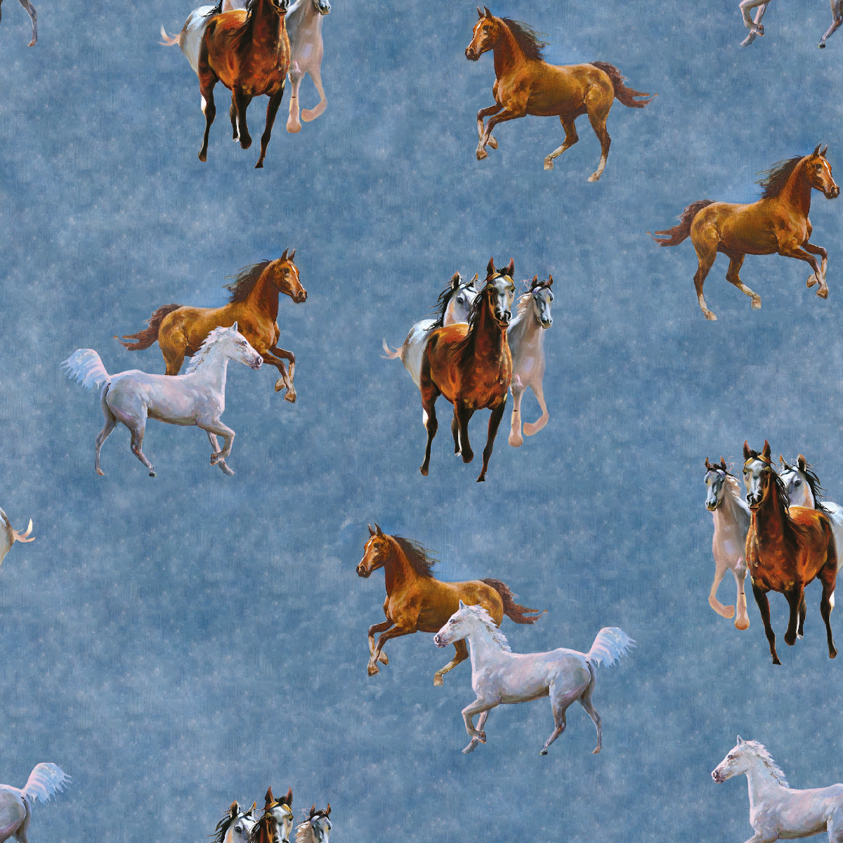 French Terry Pferde auf Jeansblau